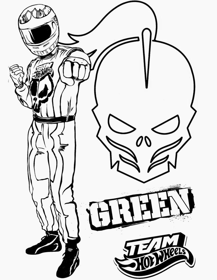 Hot Wheels Coloring Pages Team Green