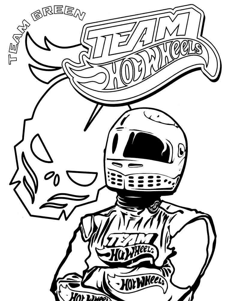 Hot Wheels Team Coloring Pages Green