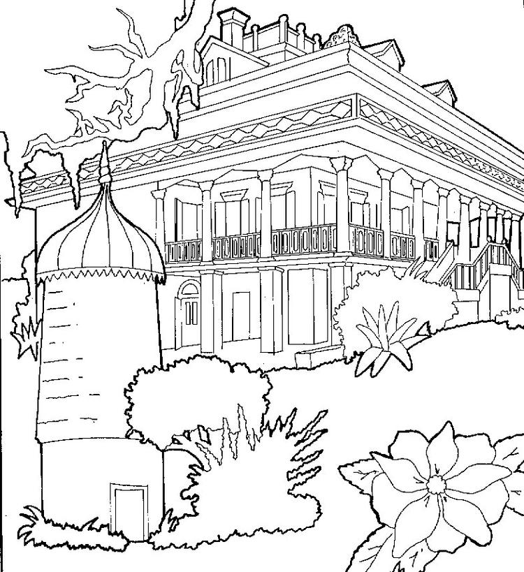House Coloring Pages Big House With Park