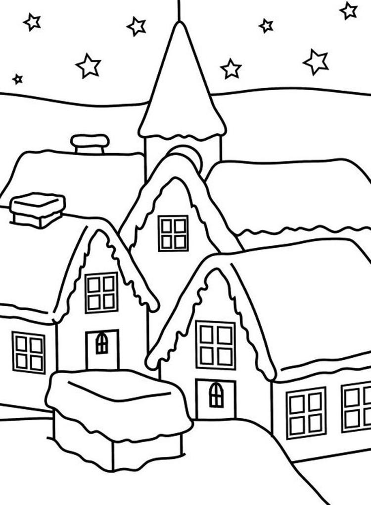 House Of Winter Coloring Pages For Kids