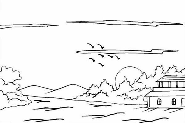 House On Hills Landscapes Coloring Pages