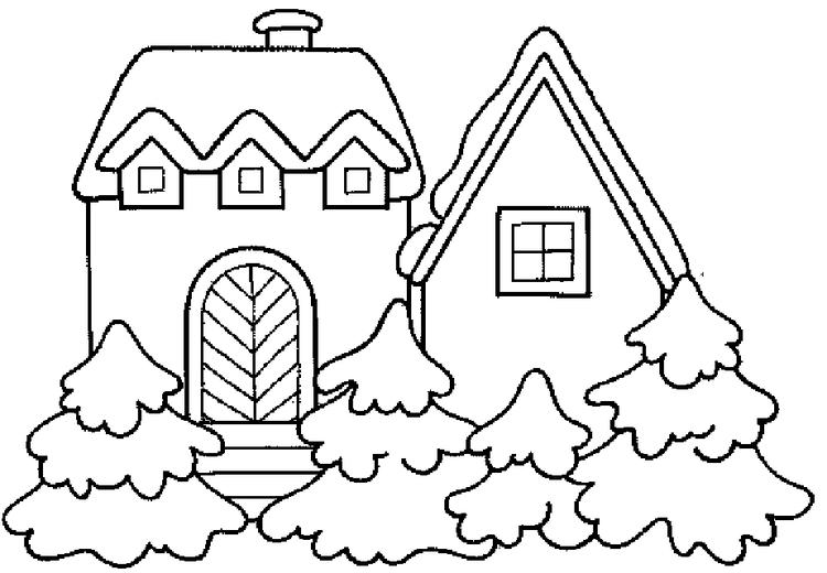 House Winter Coloring Page