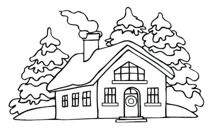 House Winter Coloring Pages