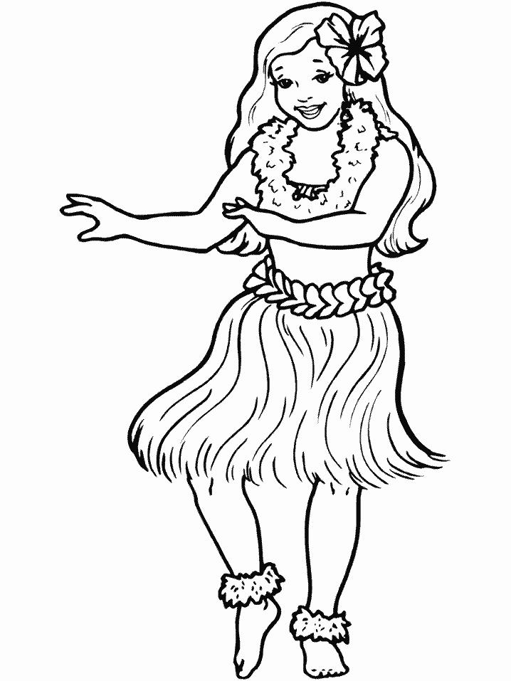 Hula Girl Coloring Pages Free
