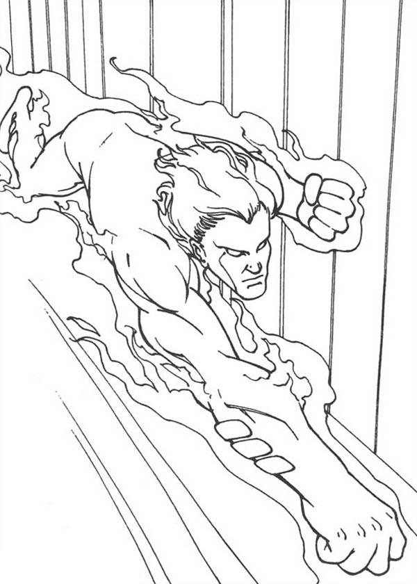 Human Torch Flying Fast In Fantastic Four Coloring Pages