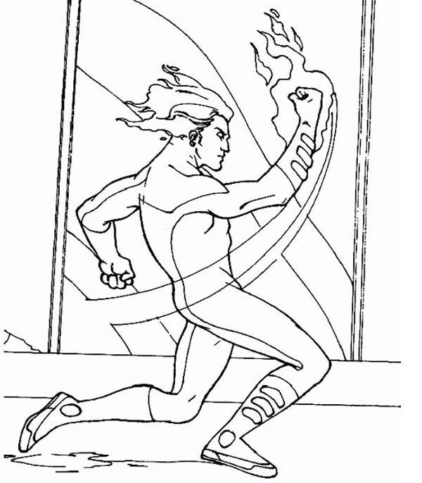Human Torch Punch In Fantastic Four Coloring Pages