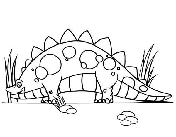 Hungry Stegosaurus Find Food From Baby Dinos Coloring Pages
