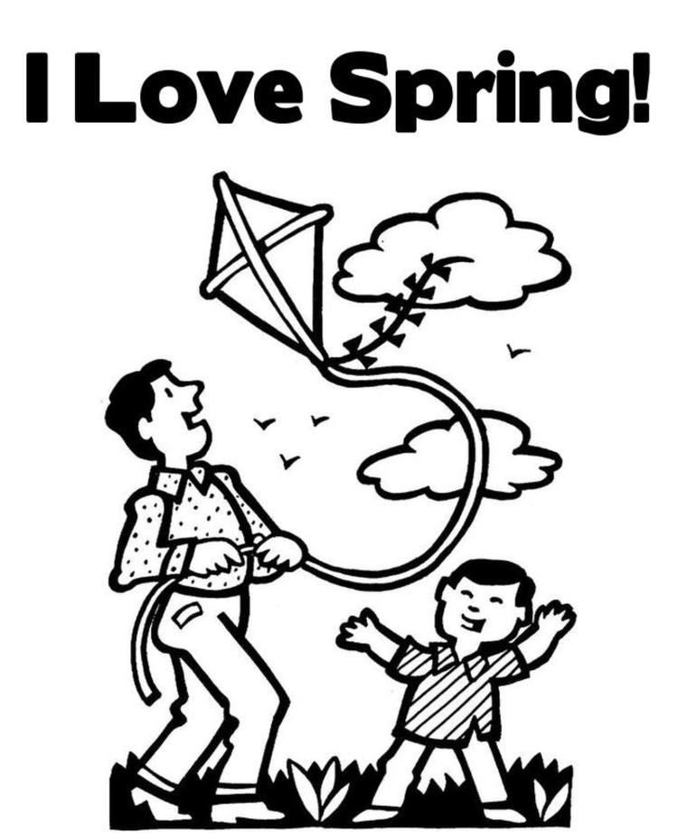 I Love Spring Coloring Page