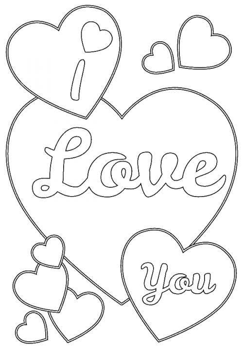 I Love You Coloring Pages Cute