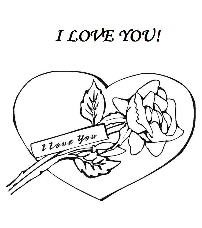 I Love You Coloring Pages Rose And Heart