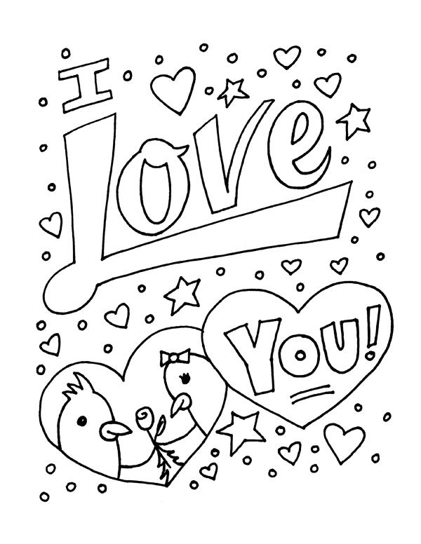 I Love You Coloring Pages With Stars