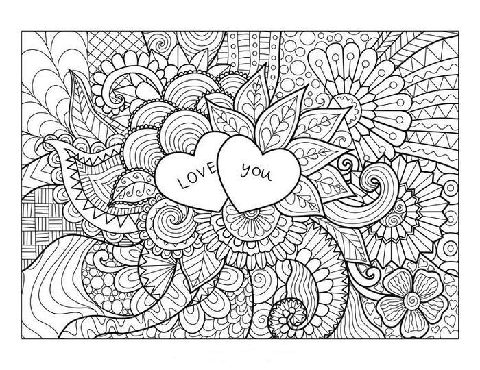 I Love You Zemtangle Coloring Pages