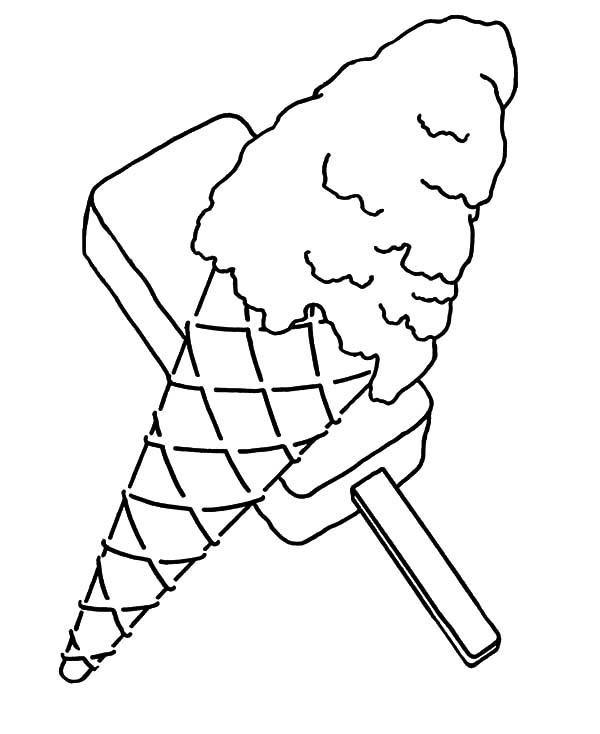 Ice Cream Cone And Popsicle Coloring Pages