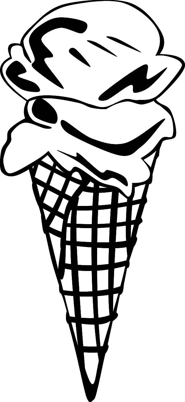 Ice Cream Cone Choco Flavour Coloring Pages