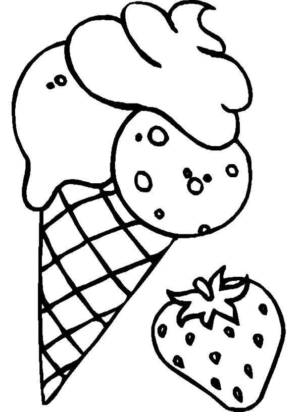 Ice Cream Cone Flavoured Strawberry Coloring Pages