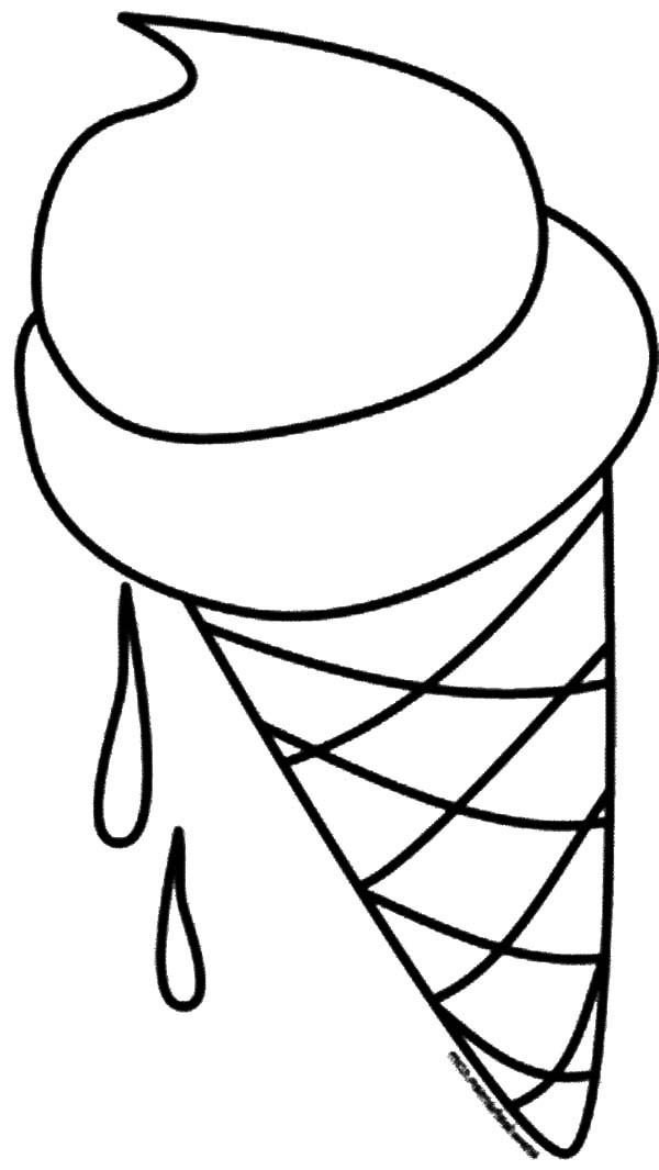 Ice Cream Cone Melting Coloring Pages
