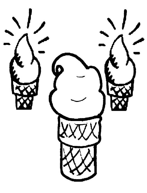 Ice Cream Cone Shining Bright Coloring Pages