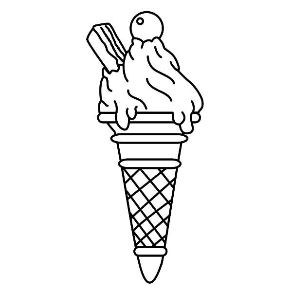 Ice Cream Cone With Wafer Coloring Pages