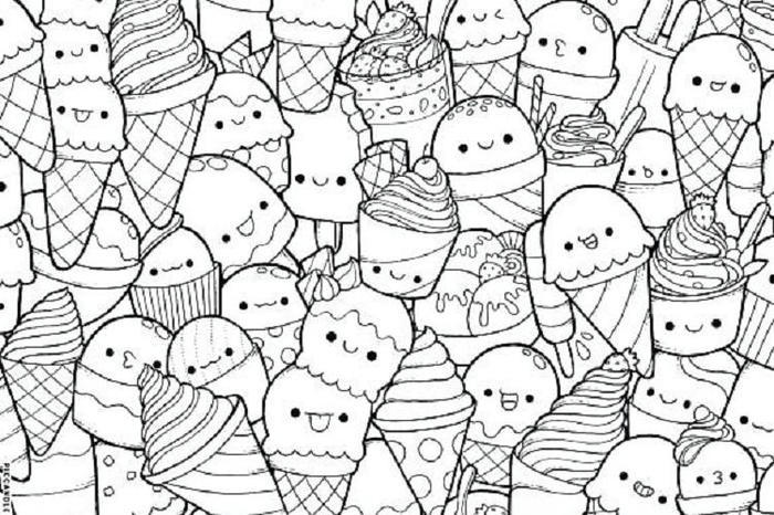 Ice Cream Doodle Coloring Pages