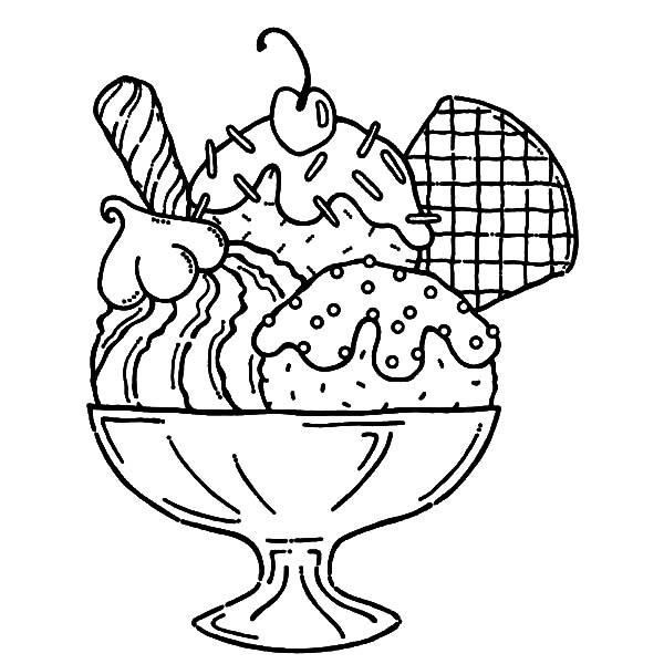 Ice Cream Served With Wafer And Whipped Cream Coloring Pages