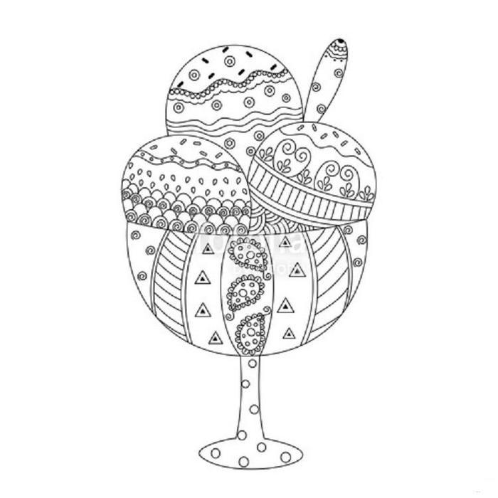 Ice Cream Zentangle Coloring Pages