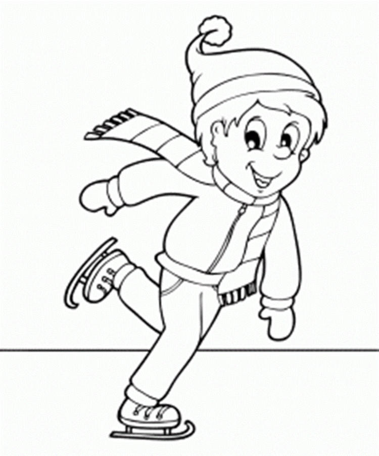 Ice Skating Winter Coloring Pages For Kids