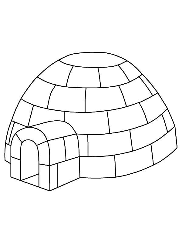 Igloo Outline Coloring Pages