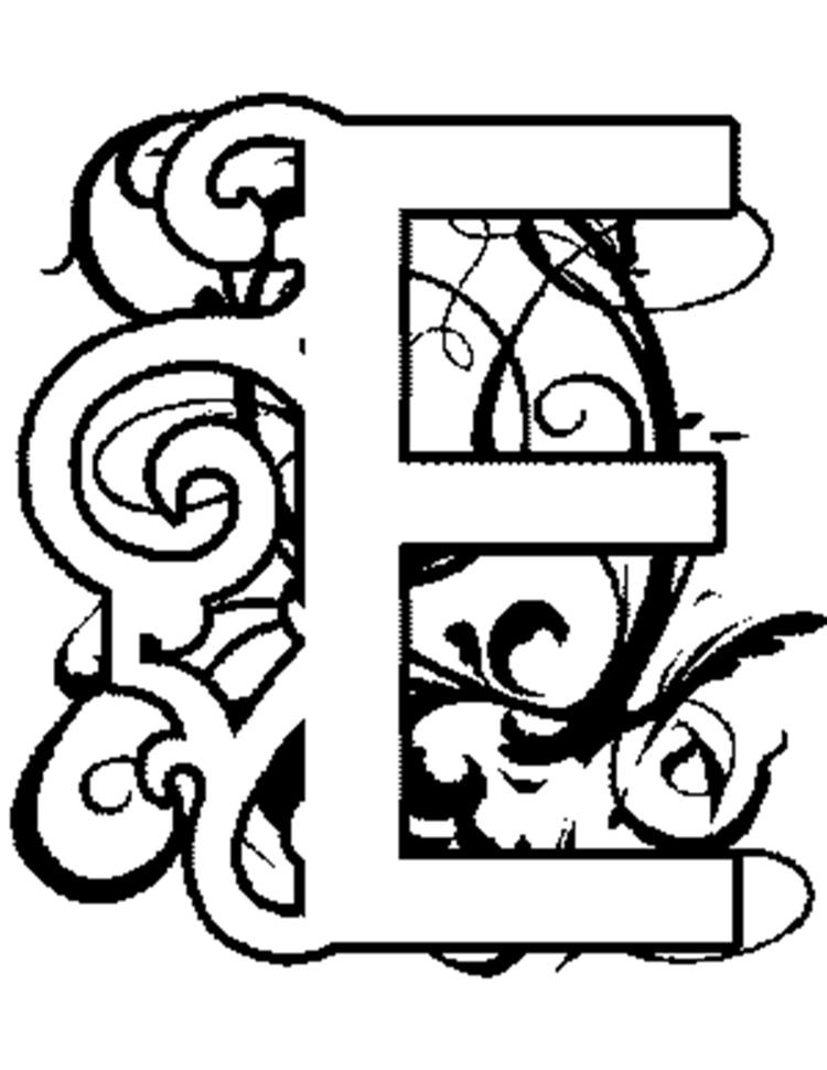 Illuminated E Alphabet Coloring Pages Free