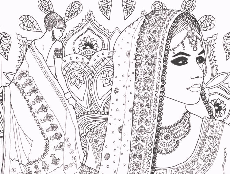 Indian Fashion Carnival Coloring Pages