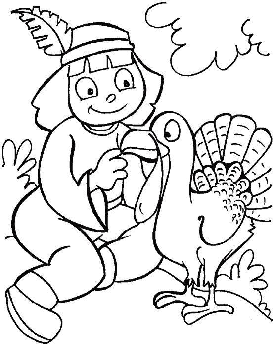 Indian Girl And Turkey Thanksgiving Coloring Pages For Girls