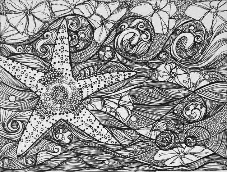 Intricate starfish coloring page