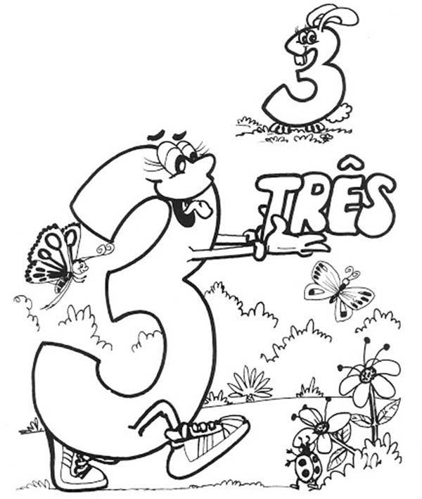 Introducing Number 3 Coloring Page
