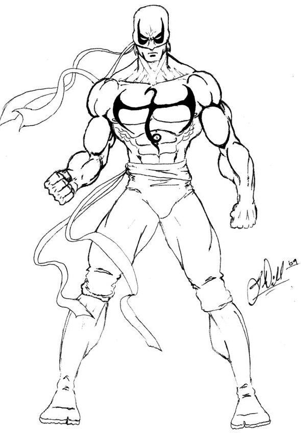 Iron Fist Sketch Coloring For Kids