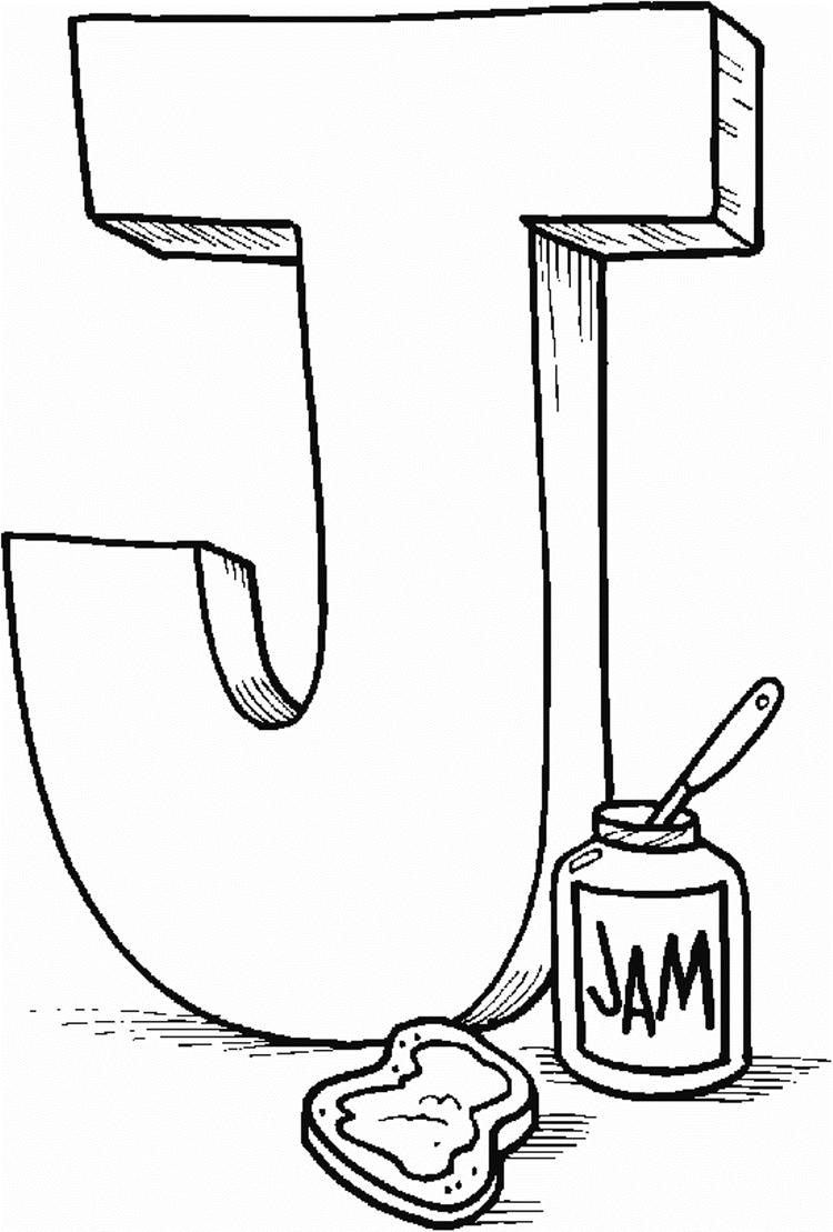 J For Jam Alphabet Coloring Page