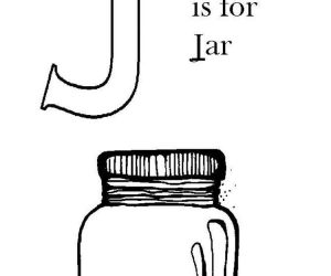 J for jar alphabet coloring page