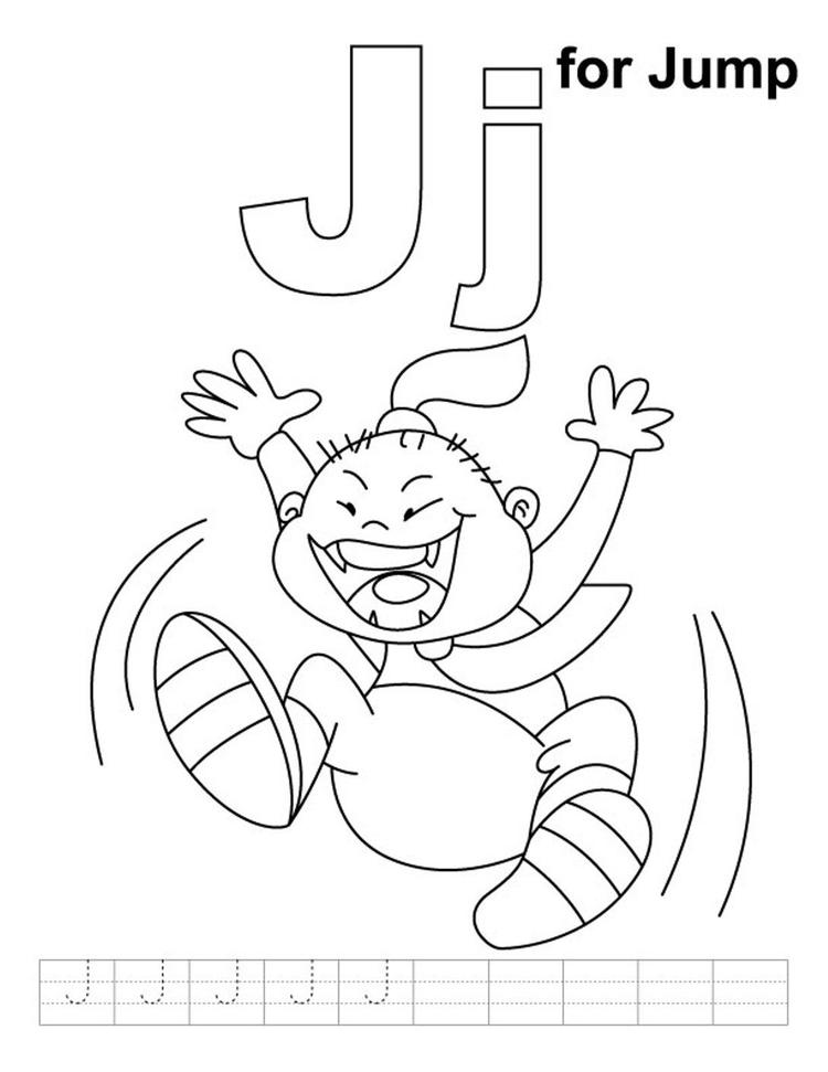 J Is For Jump Alphabet Coloring Page