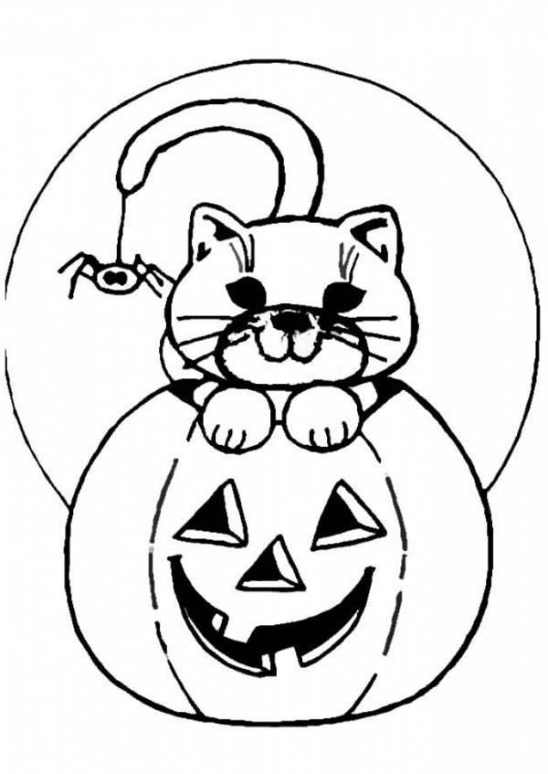 Jack O Lantern With Cat Coloring Pages