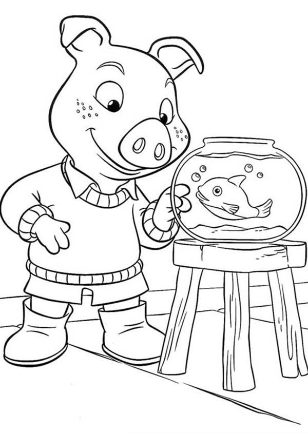 Jakers Piggley Looking At Fish In Piggly Wiggly Coloring Pages