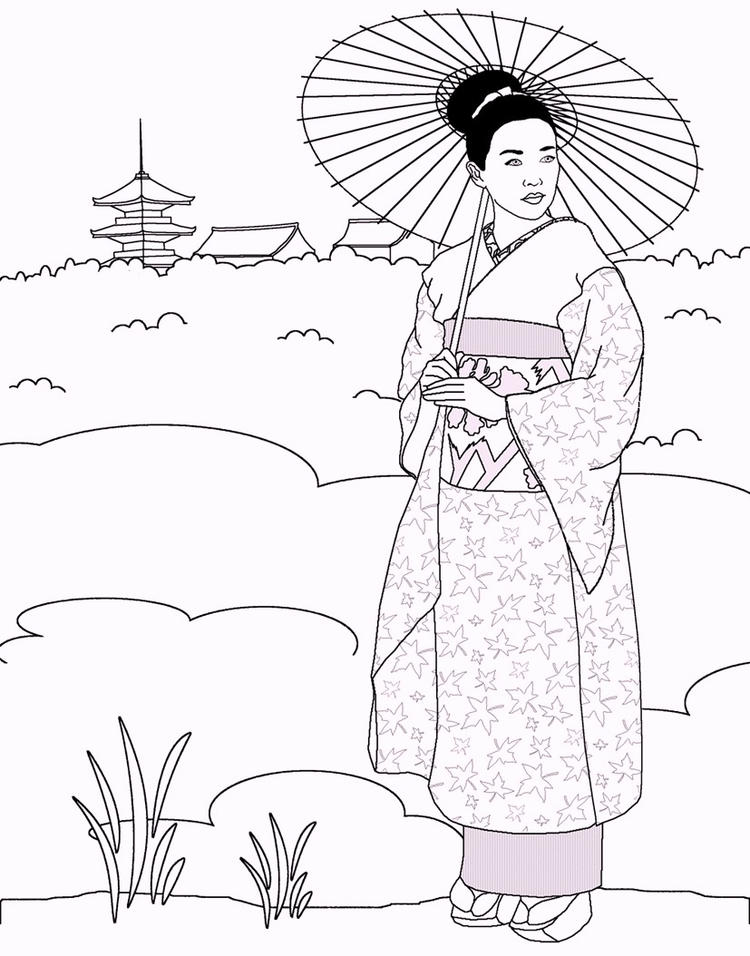 Japanese Traditional Outfit Coloring Page