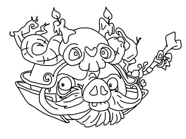 Japanese Warlord Angry Bird Pigs Coloring Pages
