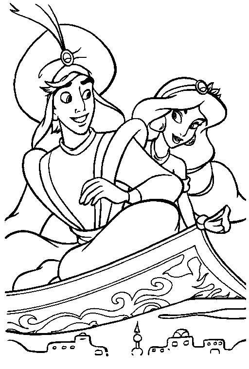 Jasmine And Aladdin Coloring Pages For Kindergarten