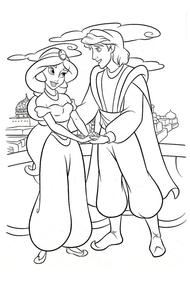 Jasmine And Aladdin Coloring Pages To Print