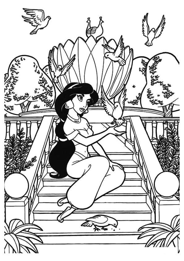 Jasmine Coloring Pages In The Garden