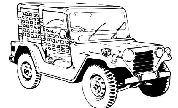 Jeep Army Car Coloring Pages