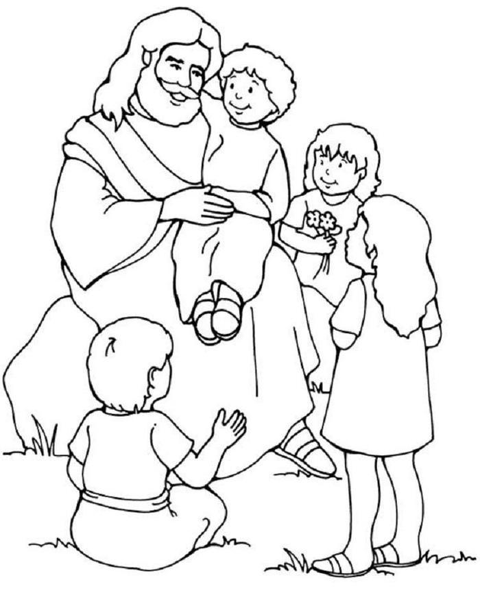 Jesus And The Children Coloring Pages