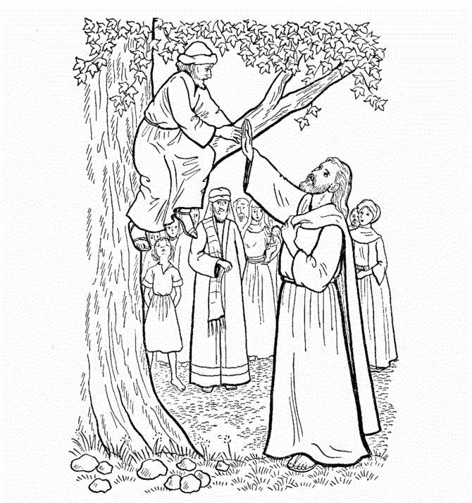 Jesus And Zacchaeus Coloring Pages To Print