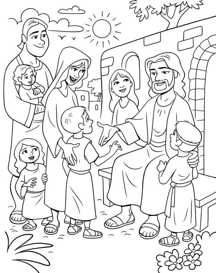 Jesus With Children Coloring Pages