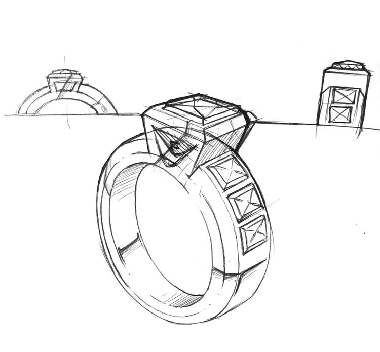 Jewelry Wedding Ring Sketch Drawing Page