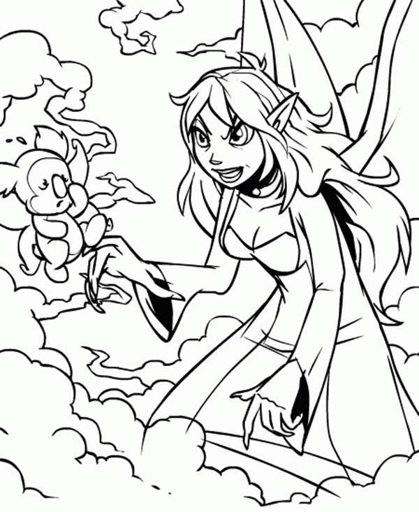 Jhudora Angry To Her Pet In Neopets Coloring Pages