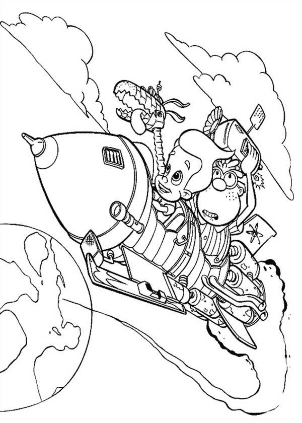 Jimmy Neutron Flying With Carl And Goddard Coloring Pages